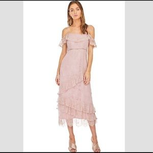 NWT ASTR MARGUERITE OFF THE SHOULDER RUFFLE MAXI